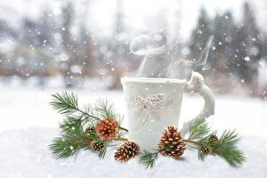 Картинки Зимние Снег Шишка На ветке Кружке Пары