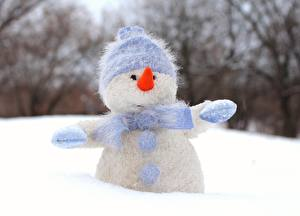 Обои Зима Снег Снеговики Шапки Шарф