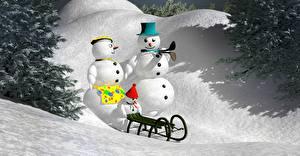 Фото Зимние Снеговики Втроем Шляпа Санки 3D Графика