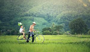Обои Азиатка Мужчина Две Трава Велосипеде Мальчишки Шляпы ребёнок