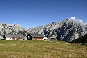 Обои Австрия Здания Горы Трава Gnadenwald, Tyrol Природа