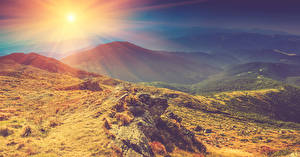 Фотография Осень Рассветы и закаты Горы Камень Пейзаж Солнце