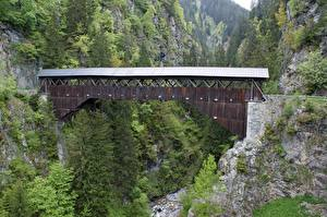 Обои Мосты Горы Швейцария Скала Disentis Природа картинки