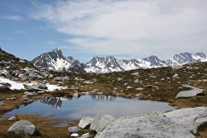 Фото Канада Горы Камни Скала Снег Whistler Природа