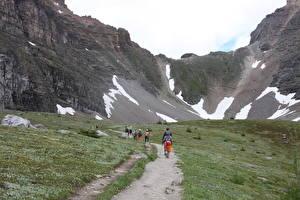 Фотографии Канада Парк Горы Тропинка Трава Гуляет Банф