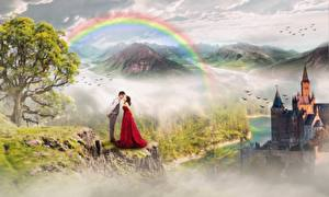 Фото Замки Гора Влюбленные пары Мужчина Радуга Дерева Два Фэнтези