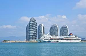 Фото Китай Корабли Круизный лайнер Остров Море Гостиница Hainan, Superstar Aquarius, Sanya Bay, Phoenix Island Города