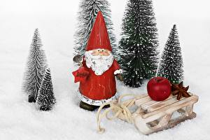 Картинки Рождество Яблоки Санта-Клаус Санки Снег