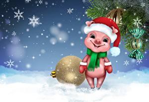 Обои Новый год Шарики Снежинки Ветки Шапки Шарф Животные картинки