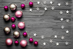 Фотография Новый год Шарики Звездочки Доски Шаблон поздравительной открытки