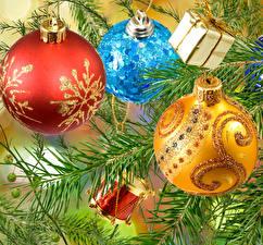 Картинка Рождество Ветвь Шар Подарки Разноцветные