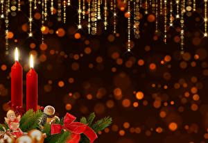 Фото Рождество Свечи Ветвь Бантик Шаблон поздравительной открытки