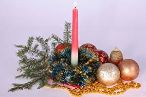 Фото Рождество Свечи Цветной фон Ветвь Шар
