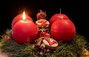 Фотографии Рождество Свечи Пламя Шар