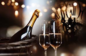 Фотография Рождество Шампанское Бокалы Бутылка Еда