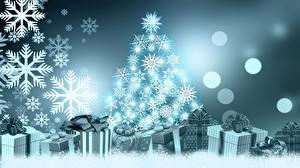 Фотографии Новый год Елка Снежинки Подарки Бантик