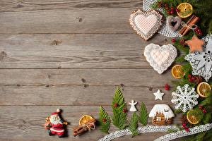 Обои Рождество Корица Доски Дизайн Сердечко Санта-Клаус