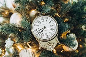 Обои Часы Рождество Циферблат На ветке