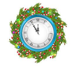 Фотографии Рождество Часы Циферблат Белый фон Ветвь Шарики