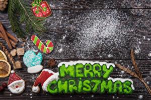 Фото Рождество Печенье Корица Сахарная пудра Доски Английский Рукавицы
