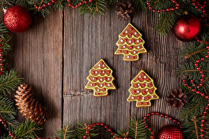 Картинка Рождество Печенье Доски Шар Шишки Елка Пища