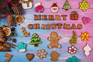 Фото Рождество Печенье Доски Дизайн Шишки Санта-Клаус Варежки Новогодняя ёлка Еда