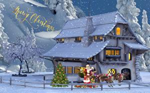 Картинки Рождество Олени Дома Английский Санта-Клаус Новогодняя ёлка Подарков Сани Города