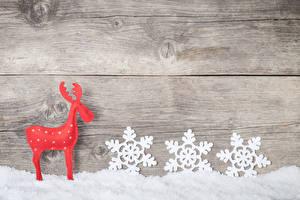 Фотография Новый год Олени Доски Снег Снежинки Стена