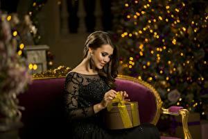 Фотография Новый год Подарки Сидящие Шатенка Девушки