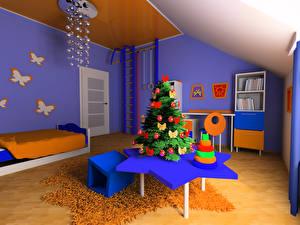Фотографии Рождество Интерьер Детская комната Дизайн Елка Стол Кровать Люстра 3D Графика