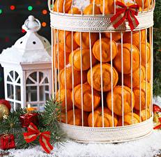 Фотографии Рождество Мандарины Много Подарки