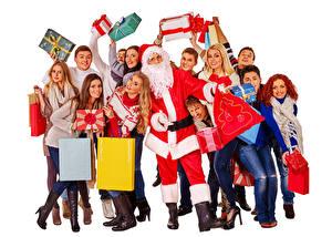 Картинки Новый год Мужчины Люди Белом фоне Дед Мороз Подарок девушка