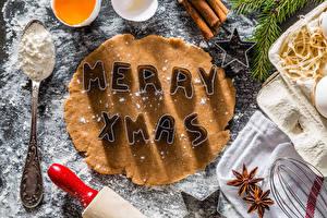 Фото Рождество Выпечка Бадьян звезда аниса Мука Английский Ложка Пища