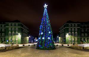 Фотография Рождество Польша Здания Городская площадь Елка Ночь Гирлянда Звездочки Уличные фонари Szczecin