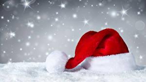 Картинка Рождество Снег Шапки Снежинки