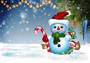 Картинка Новый год Снежинки Снеговики Шапки Улыбка Ветвь