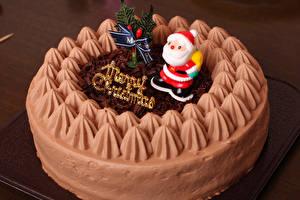 Фотографии Рождество Сладости Торты Санта-Клаус Дизайн Пища