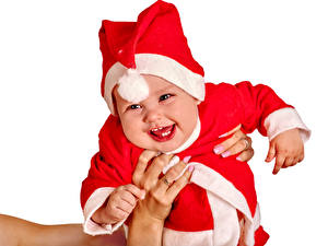 Фото Новый год Белый фон Младенцы Униформа Счастье Шапки Ребёнок
