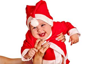 Фото Новый год Белый фон Младенцы Униформа Счастливые Шапка ребёнок