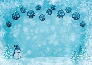 Обои Рождество Зимние Шар Снежинки Снеговики Шапки Шаблон поздравительной открытки