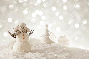 Фото Новый год Зима Снеговики Снег Шапки Шарф