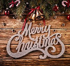 Картинки Рождество Доски Английский Ветвь Шар Колокольчики Звездочки