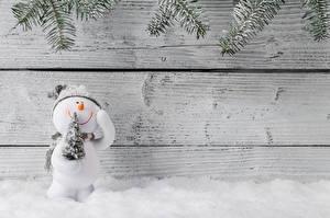 Фотографии Рождество Доски Стенка Снеговики Новогодняя ёлка Снег