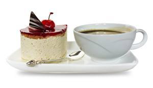 Обои Кофе Торты Десерт Чашке Завтрак Белом фоне Еда