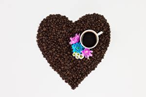 Картинки Кофе Зерна Сердечко Чашка Пища