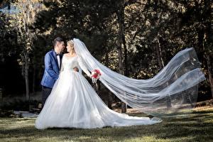 Обои Влюбленные пары Мужчины Свадьба Жених Невеста Платье Девушки