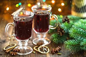 Фотография Напиток Рождество Кружки Две Еда