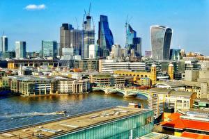 Картинка Англия Дома Реки Мосты Лондон Города
