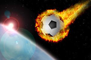 Фотография Футбол Пламя Мяч Летящий