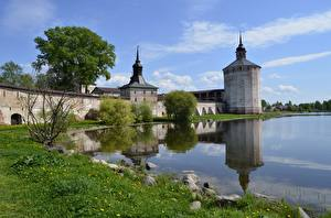 Фотография Крепость Россия Озеро Лето Траве town of Kirillov, Kirillo-Belozersky Monastery, Lake Siverskoye